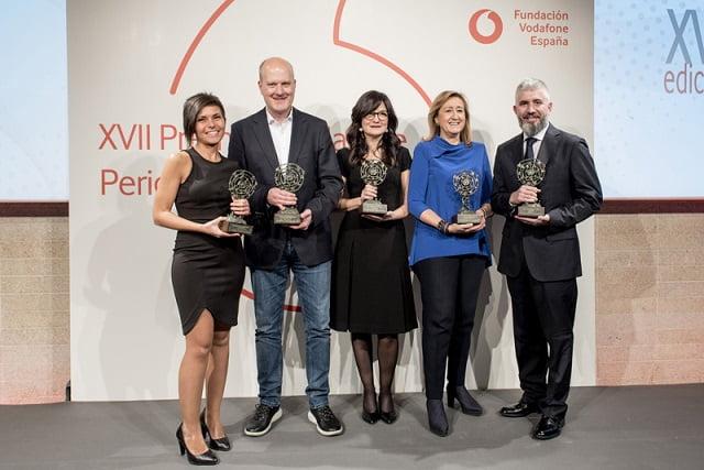 Esther Paniagua, Javier Armesto, Emilia Pérez y David Page, Premios Vodafone de Periodismo