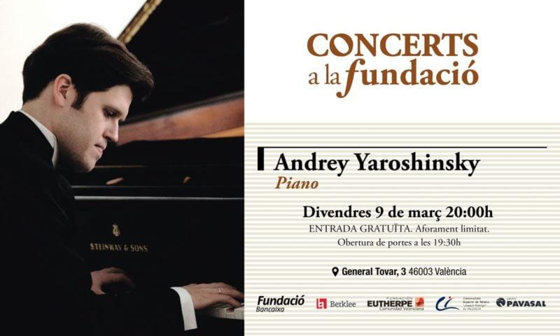 El pianista ucraniano A. Yaroshinsky, en Concerts a la Fundació