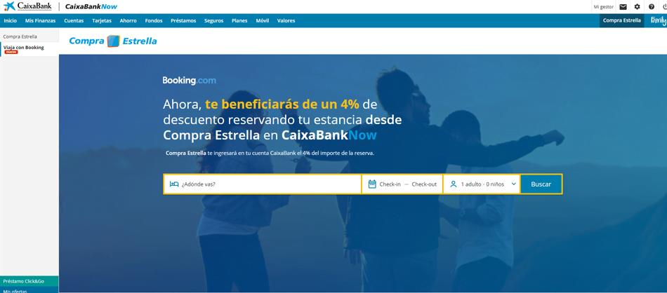 Las reservas en Booking a través de CaixaBank tienen descuento del 4%