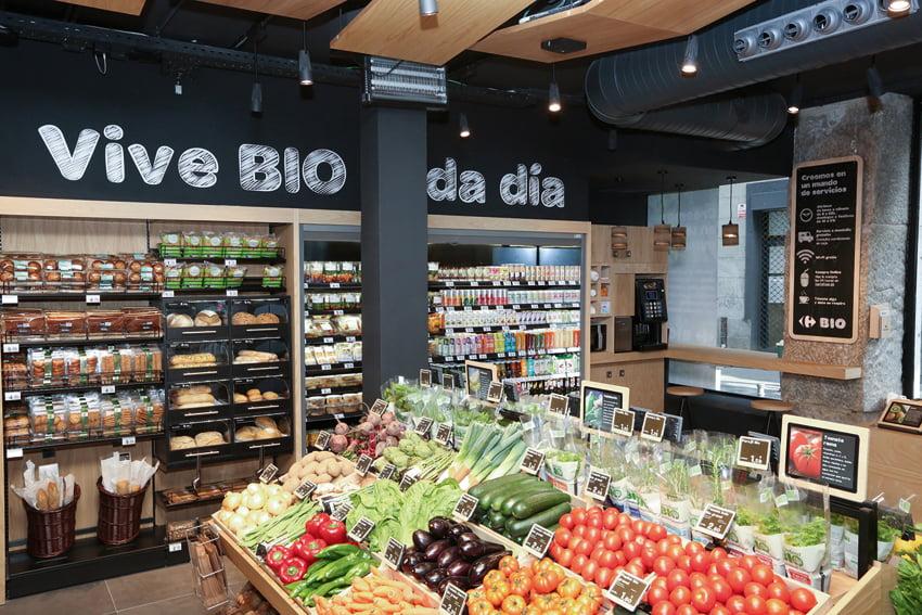 Sección Bio del supermercado Carrefour