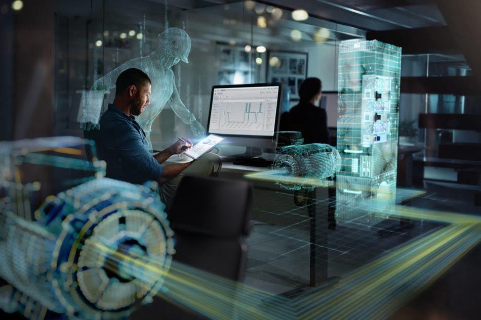 Trabajador emplea tecnología digital