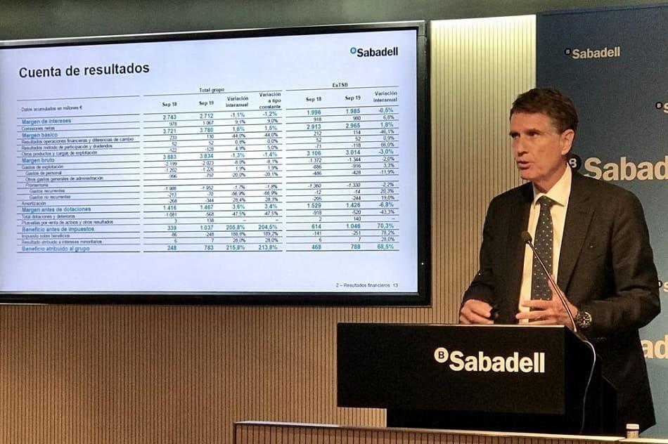Banco Sabadell cree inevitable cobrar por los depósitos en un entorno de tipos negativos