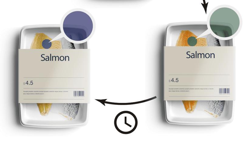 la etiqueta cambia de color en función del nivel de descomposición  Foto: Oscillum