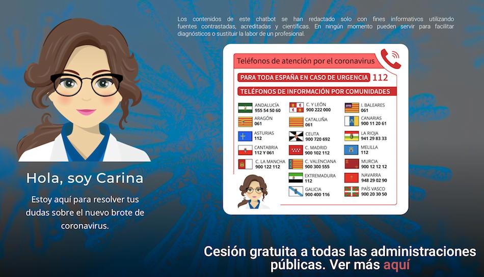 Carina, el chatbot para resolver dudas sobre el coronavirus
