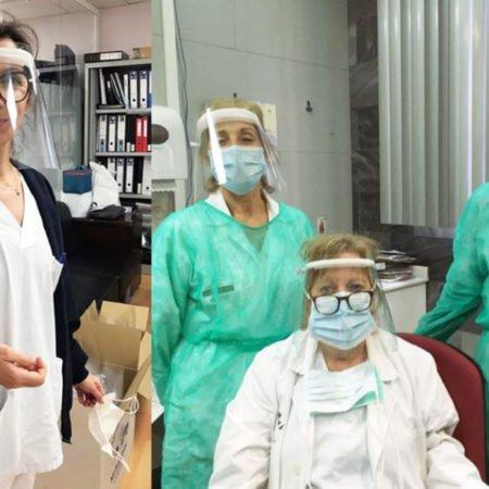 Personal sanitario con el protector facial diseñado por DiDes