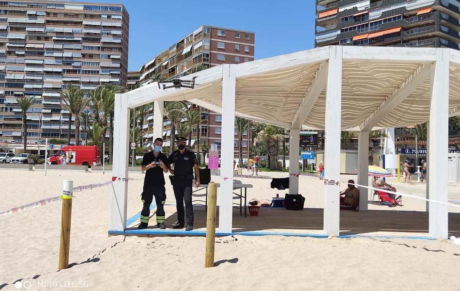 La Policía Local limita el acceso en un tramo de la playa de San Juan de Alicante