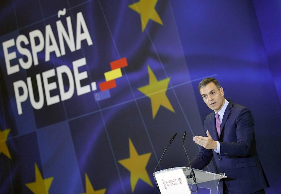 El presidente del Gobierno, Pedro Sánchez, en la presentación en València del Plan de Recuperación, Transformación y Resiliencia de la Economía española.