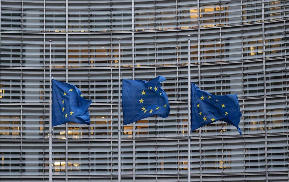 Banderas UE en Bruselas.