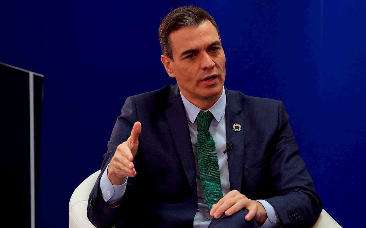 El presidente del Gobierno, Pedro Sánchez, durante su intervención este miércoles en el I encuentro sobre los fondos europeos organizado por la agencia EFE y la multinacional KPMG.
