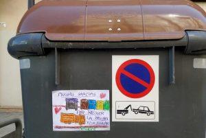 Contenedor de residuos marrón