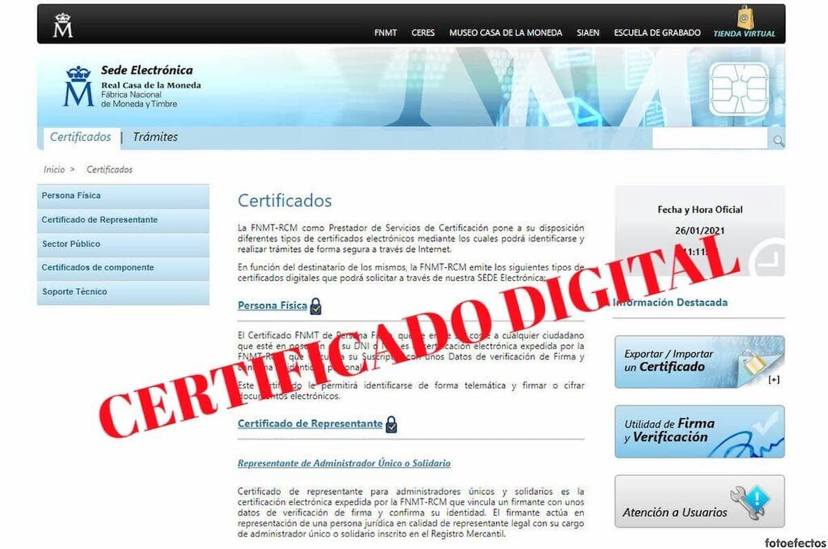 Sede electrónica para obtener el certificado digital
