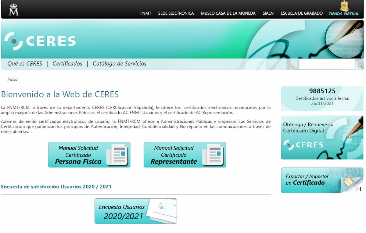 Web de CERES donde se obtiene el certificado electrónico