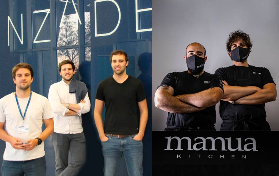 A la izquierda los fundadores de Cuyna en Lanzadera y a la derecha los gerentes de Mamua Kitchen.