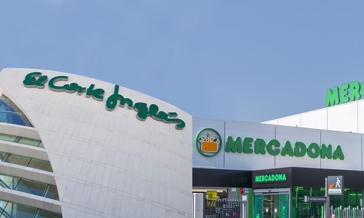 Fachadas de El Corte Inglés y Mercadona, empresas más valoradas en el ranking de Brand Finance del sector de la distribución.