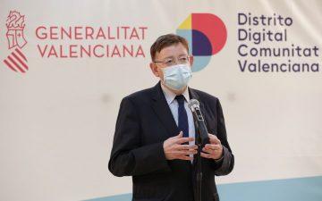 Ximo Puig en la presentación este martes en Distritito Digital del proyecto para digitalizar pymes turísticas.