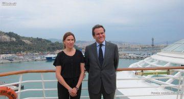 Sixte Cambra, presidente del Puerto de Barcelona, y Belén Wangüemert, directora general de Royal Caribbean en España y Francia