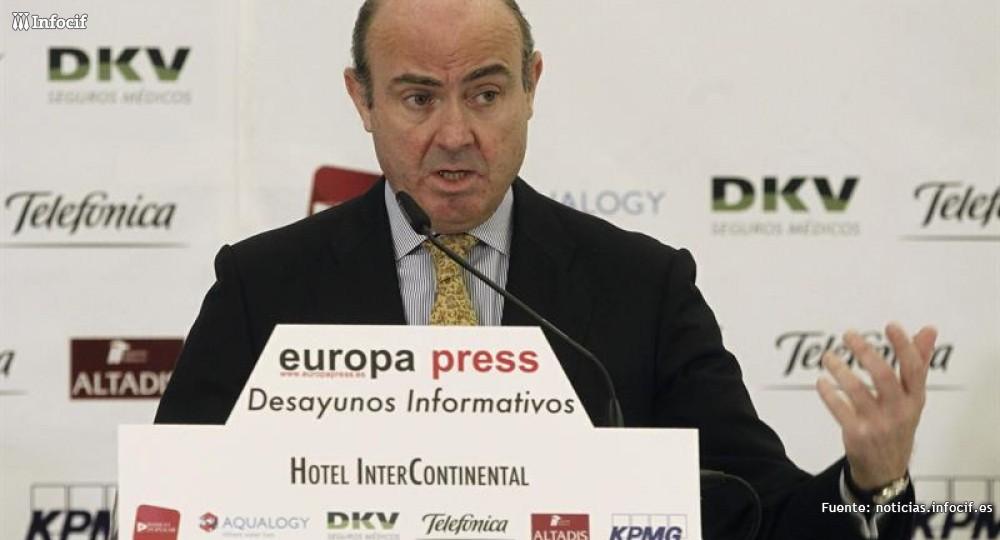 Luis de Guindos durante un desayuno informativo de Europa Press