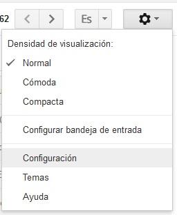 Cuadro de diálogo para seleccionar Configuración en Gmail