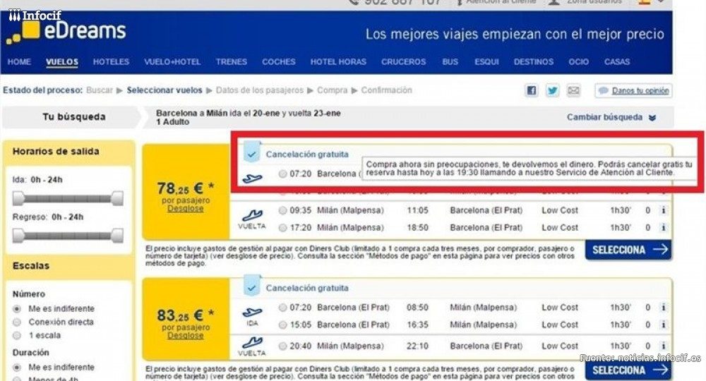 eDreams permite cancelar vuelos gratis
