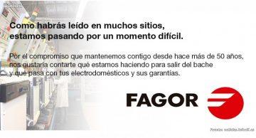 Imagen de un mensaje colocado en la web de Fagor
