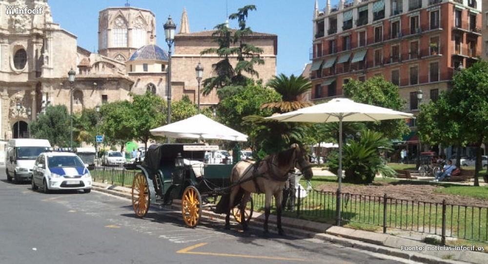 Coches de caballos es un servicio turístico para turistas y valencianos para dar una vuelta por las calles de Valencia