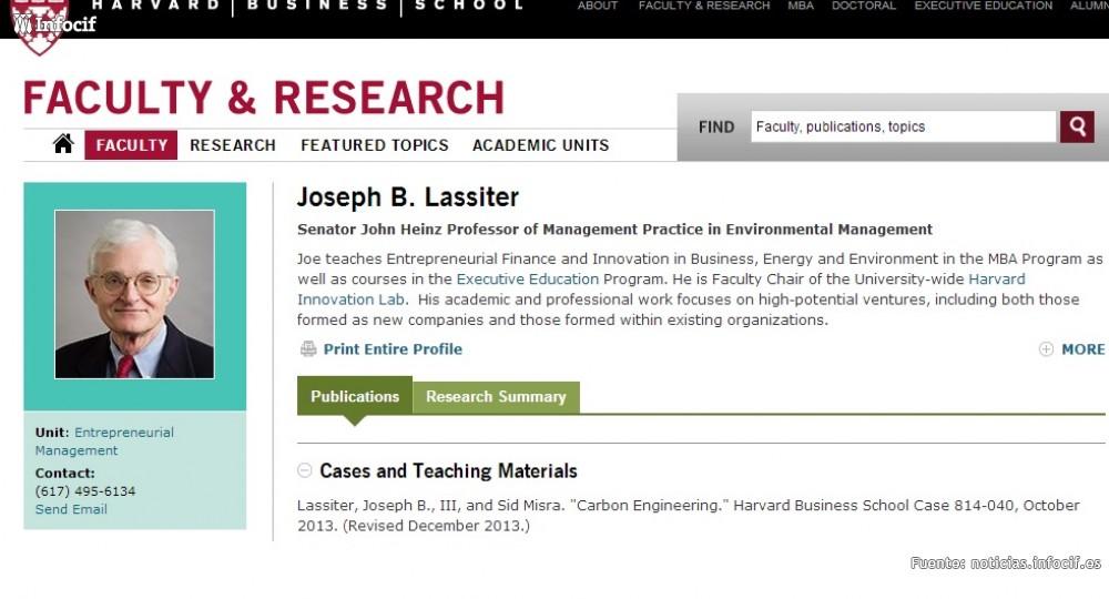 Joseph Lassiter, profesor en Management Practice in Enviromental Management en la Universidad de Harvard