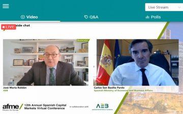 secretario general del Tesoro, Carlos San Basilio y José María Roldán, presidente de AEB