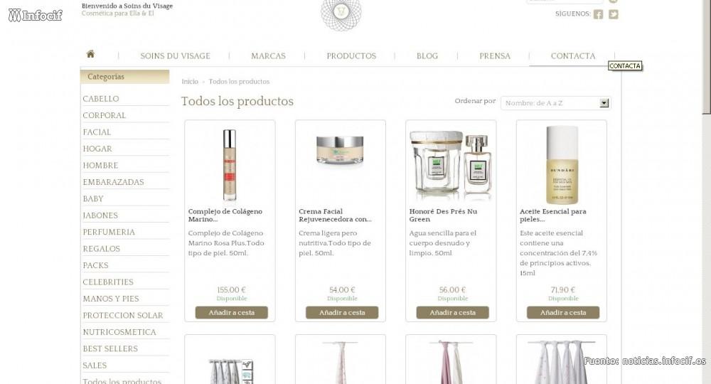 Soins du Visage, tienda de venta online de cosméticos de autor