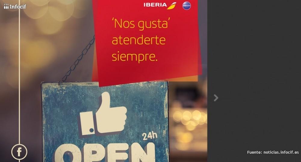 Iberia, primera aerolínea en Twitter y Facebook 24 horas al día