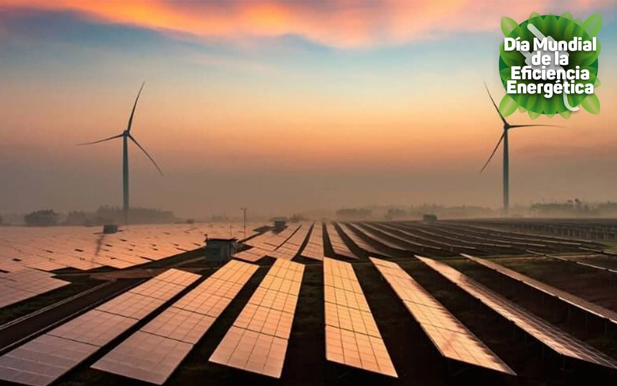 Campos solares y estaciones eólicas.