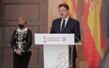 Ximo Puig junto a la consellera Ana Barceló, durante la rueda de prensa en la que han informado de las nuevas medidas por la covid