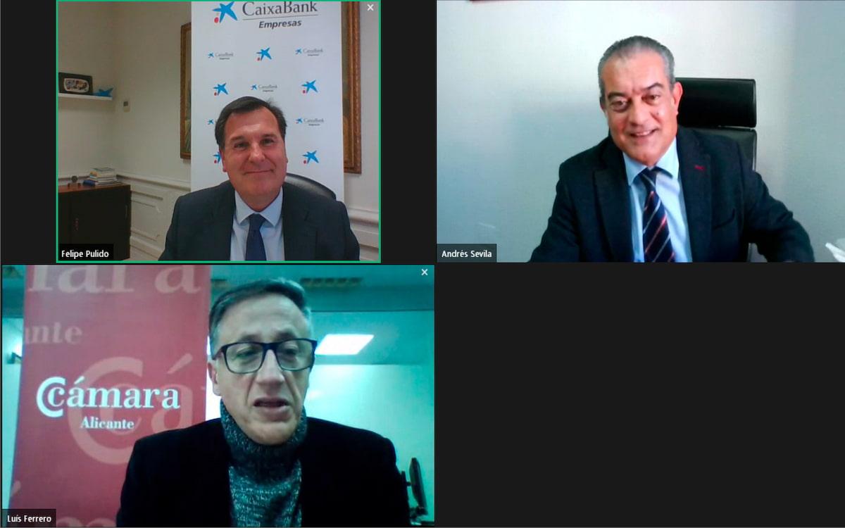 Celebración de un webinar en el que Cámara Alicante y CaixaBank acercan EE.UU. al tejido empresarial