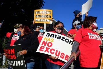 Protestas en el almacén de Bessemer de Amazon