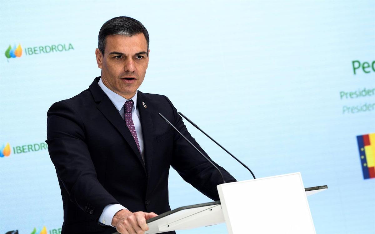 El presidente del Gobierno, Pedro Sánchez, en la presentación de la planta de hidrógeno verde. (Ismael Herrero/EFE)