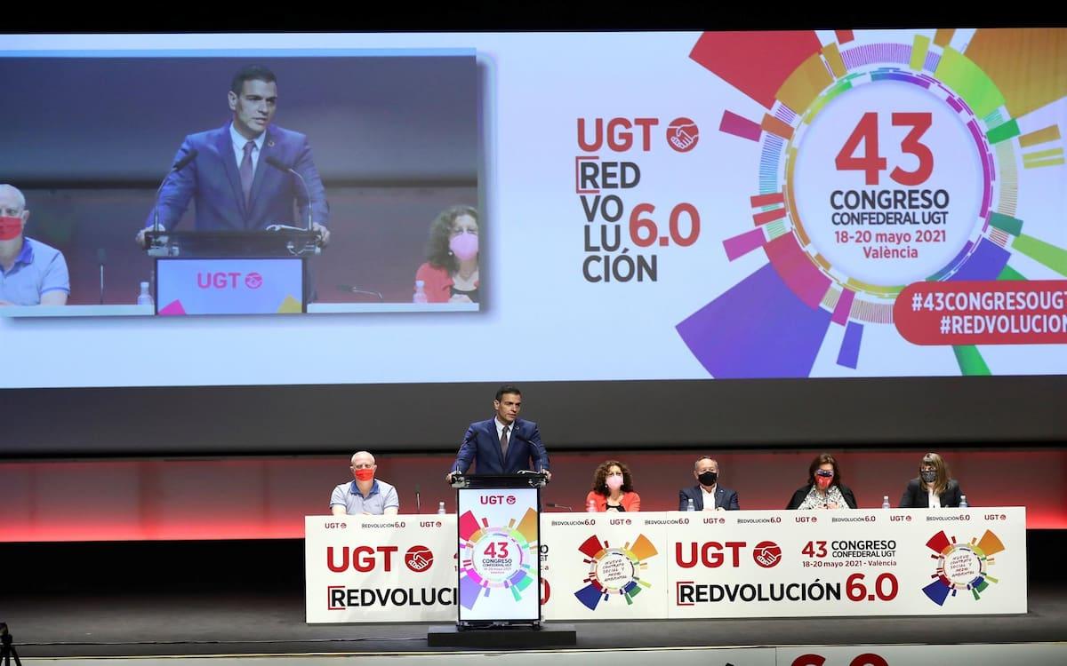 Pedro Sánchez interviene en el 43 Congreso de UGT (Fernando Calvo / Moncloa Pool)