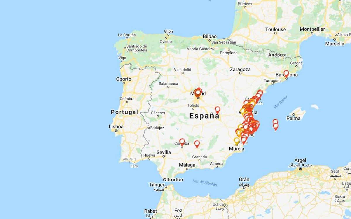 Mapa de los Óscar de la Paella