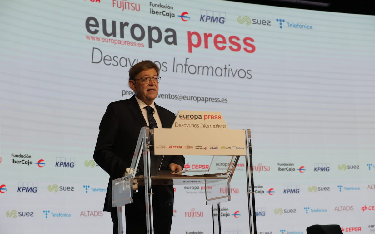 El 'president' de la Generalitat, Ximo Puig, en los desayunos de Europa Press